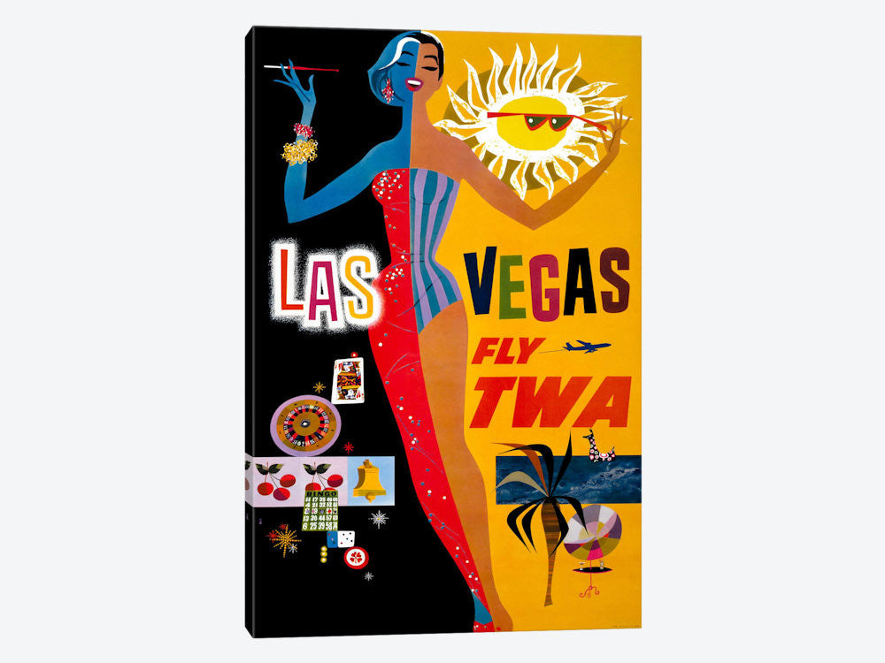 "Las Vegas Fly TWA by Print Collection Canvas Print 18"" L x 26"" H x 0.75"" D - eWallArt"