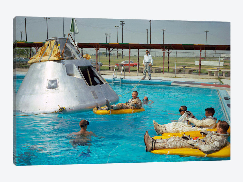 "Apollo 1 Astronauts Working by the Pool by Print Collection Canvas Print 60"" L x 40"" H x 1.5"" D - eWallArt"