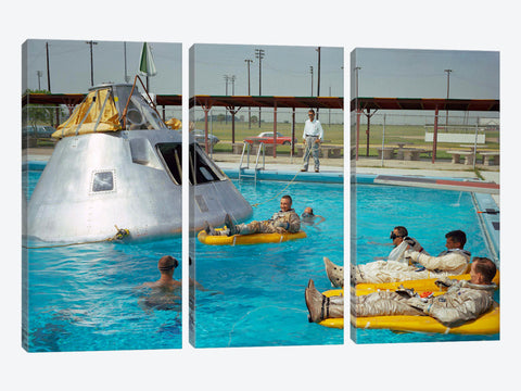 "Apollo 1 Astronauts Working by the Pool by Print Collection Canvas Print 60"" L x 40"" H x 1.5"" D"