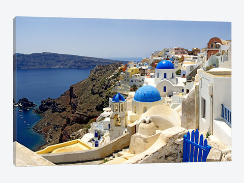 "High angle view of a church Oia Santorini Cyclades Islands Greece by Panoramic Images Canvas Print 40"" L x 26"" H x 0.75"" D"