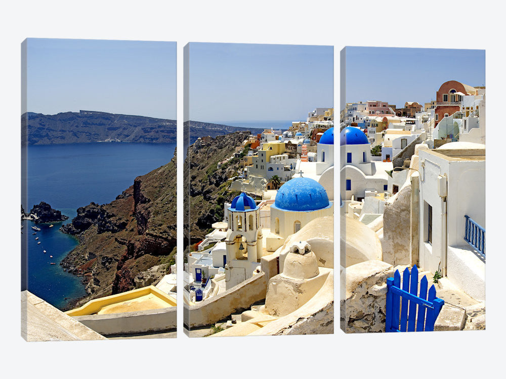 "High angle view of a church Oia Santorini Cyclades Islands Greece by Panoramic Images Canvas Print 60"" L x 40"" H x 0.75"" D - eWallArt"