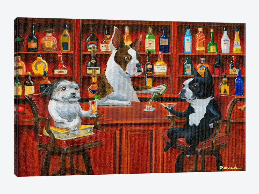 "Three Friends at the Bar by Brian Rubenacker Canvas Print 40"" L x 26"" H x 0.75"" D - eWallArt"
