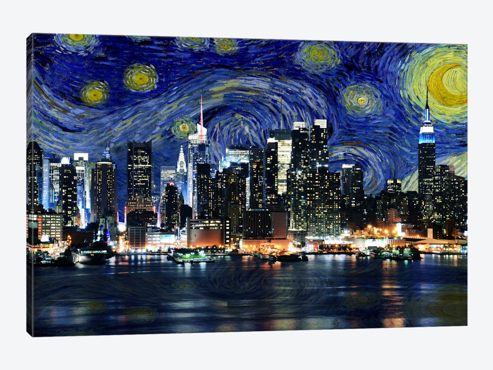 "New York Starry Night Skyline by iCanvas Canvas Print 26"" L x 18"" H x 0.75"" D - eWallArt"