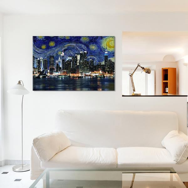 New York Starry Night Skyline by iCanvas Canvas Print