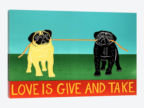 "Love Is Give And Take Black by Stephen Huneck Canvas Print 26"" L x 18"" H x 0.75"" D"