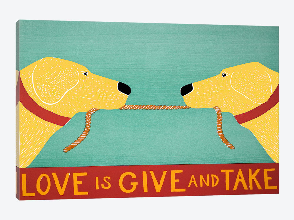 STH72-1PC3-40x26 Love Is Yellow Yellow by Stephen Huneck Canvas Print