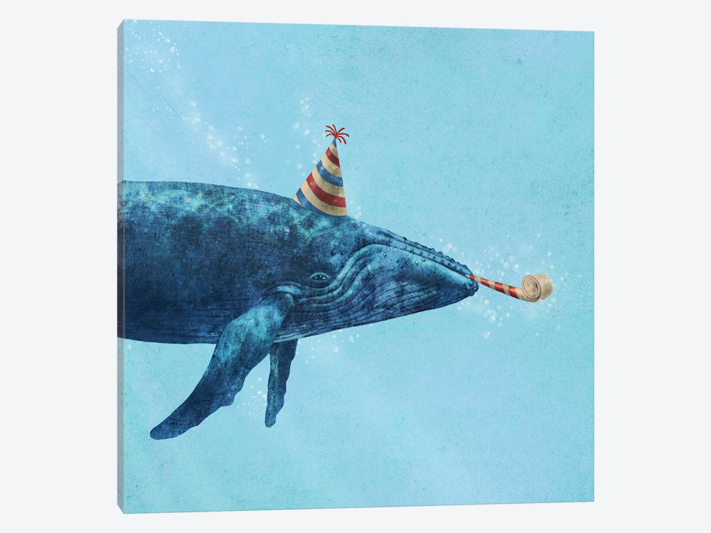 "Party Whale by Terry Fan Canvas Print 26"" L x 26"" H x 0.75"" D - eWallArt"