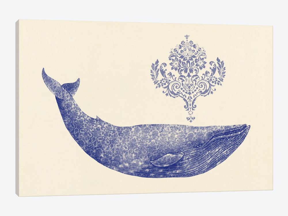"Damask Whale #1 by Terry Fan Canvas Print 60"" L x 40"" H x 1.5"" D - eWallArt"