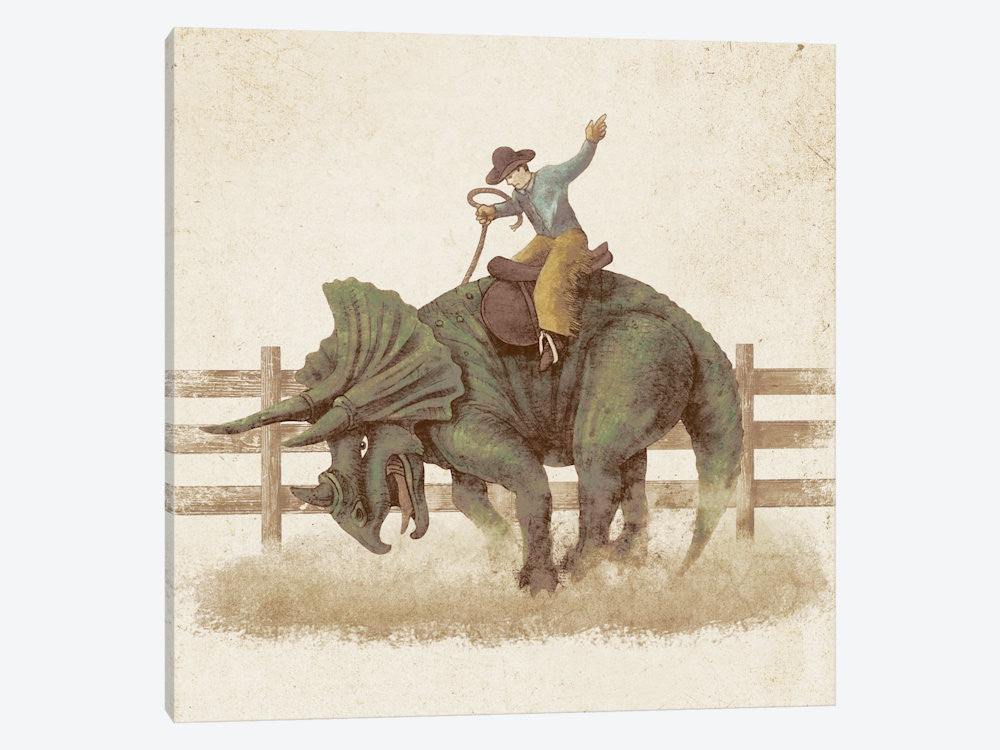 "Dino Rodeo by Terry Fan Canvas Print 26"" L x 26"" H x 0.75"" D - eWallArt"