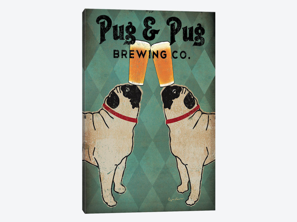 "Pug and Pug Brewing  by Ryan Fowler Canvas Print 26"" L x 40"" H x 0.75"" D - eWallArt"