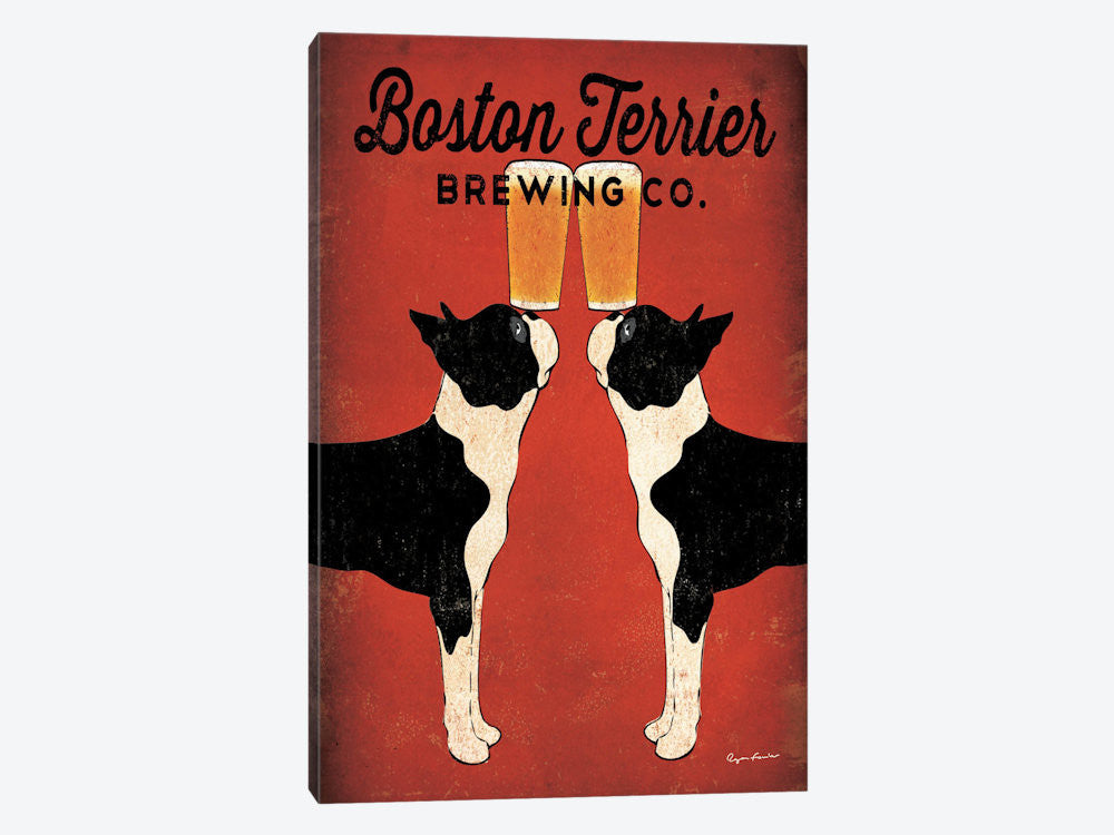 "Boston Terrier Brewing Co  by Ryan Fowler Canvas Print 18"" L x 26"" H x 0.75"" D - eWallArt"