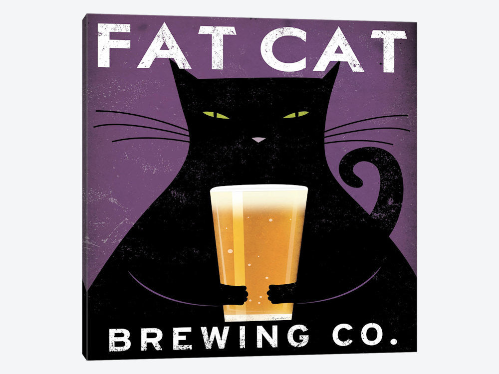 "Cat Brewing no City  by Ryan Fowler Canvas Print 26"" L x 26"" H x 0.75"" D - eWallArt"