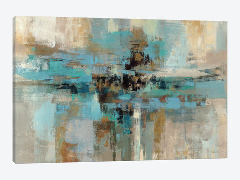 "Teal and Aqua Reflections #2 by Silvia Vassileva Canvas Print 40"" L x 26"" H x 0.75"" D"