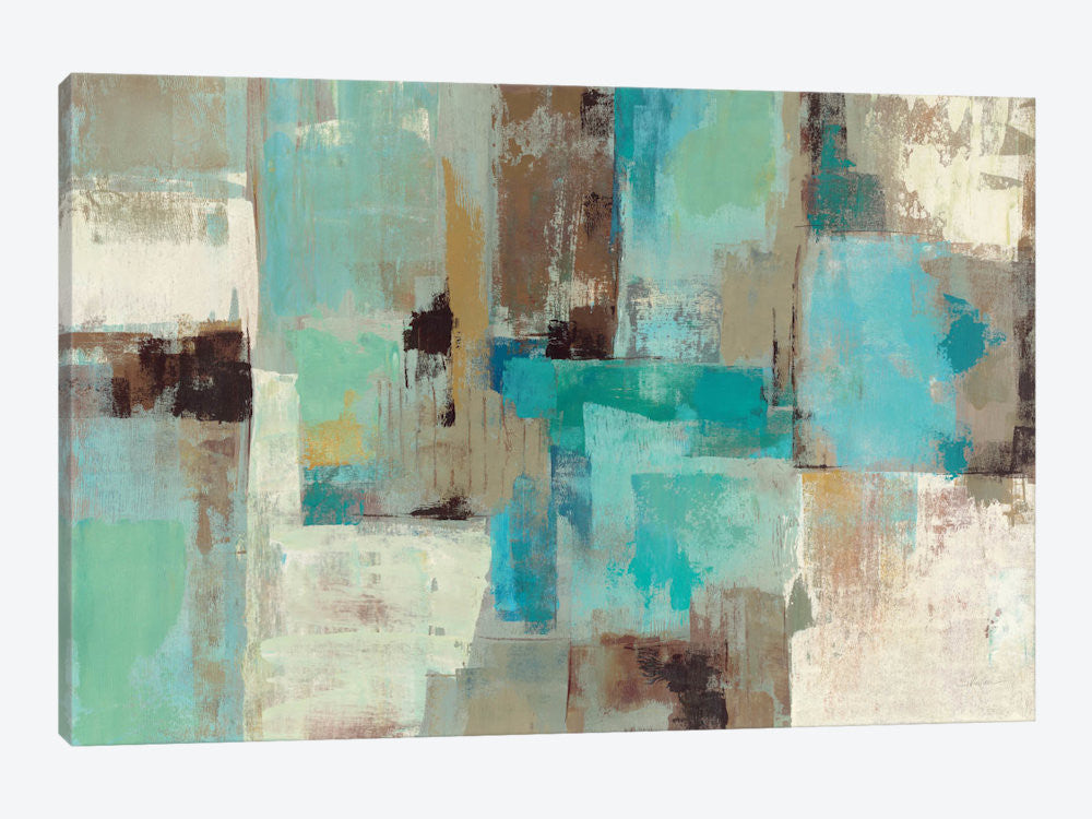 "Teal and Aqua Reflections #2 by Silvia Vassileva Canvas Print 40"" L x 26"" H x 0.75"" D - eWallArt"