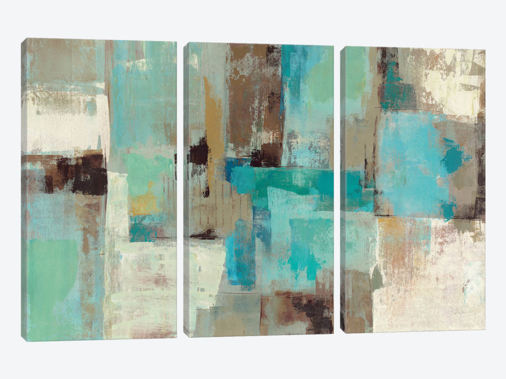 "Teal and Aqua Reflections #2 by Silvia Vassileva Canvas Print 60"" L x 40"" H x 0.75"" D - eWallArt"