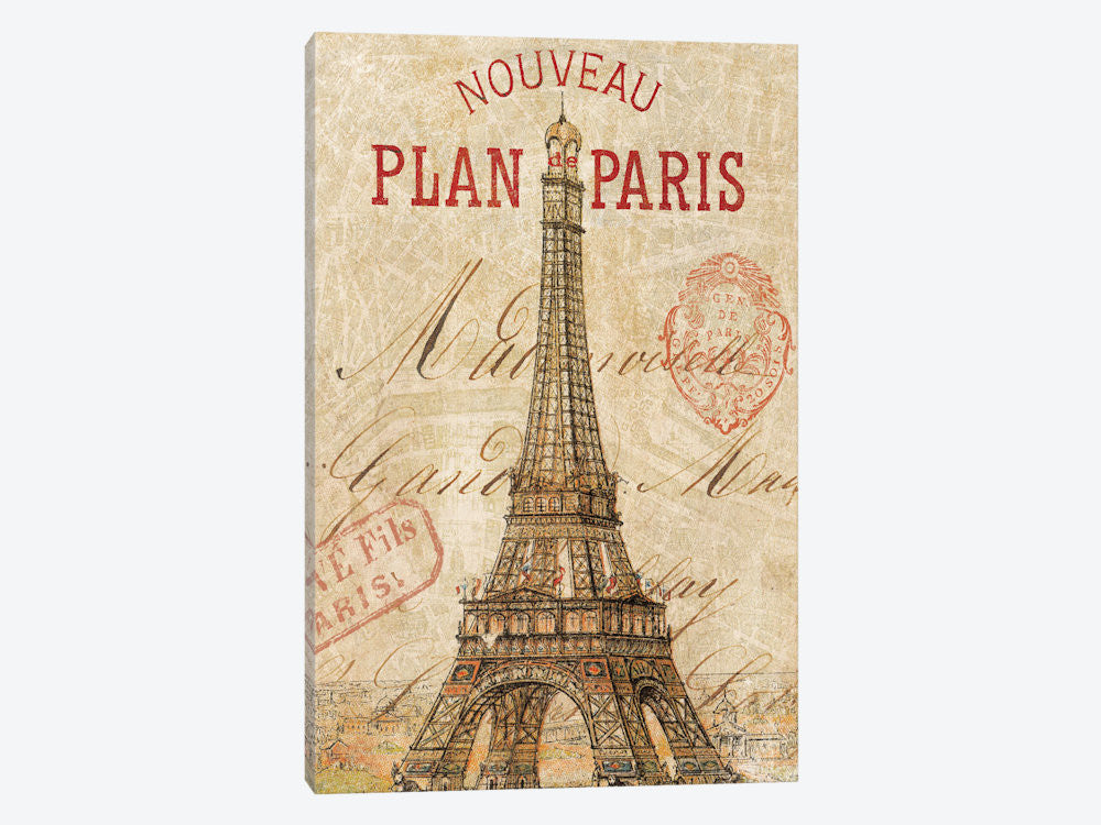 "Letter from Paris by Wild Apple Portfolio Canvas Print 26"" L x 40"" H x 0.75"" D - eWallArt"