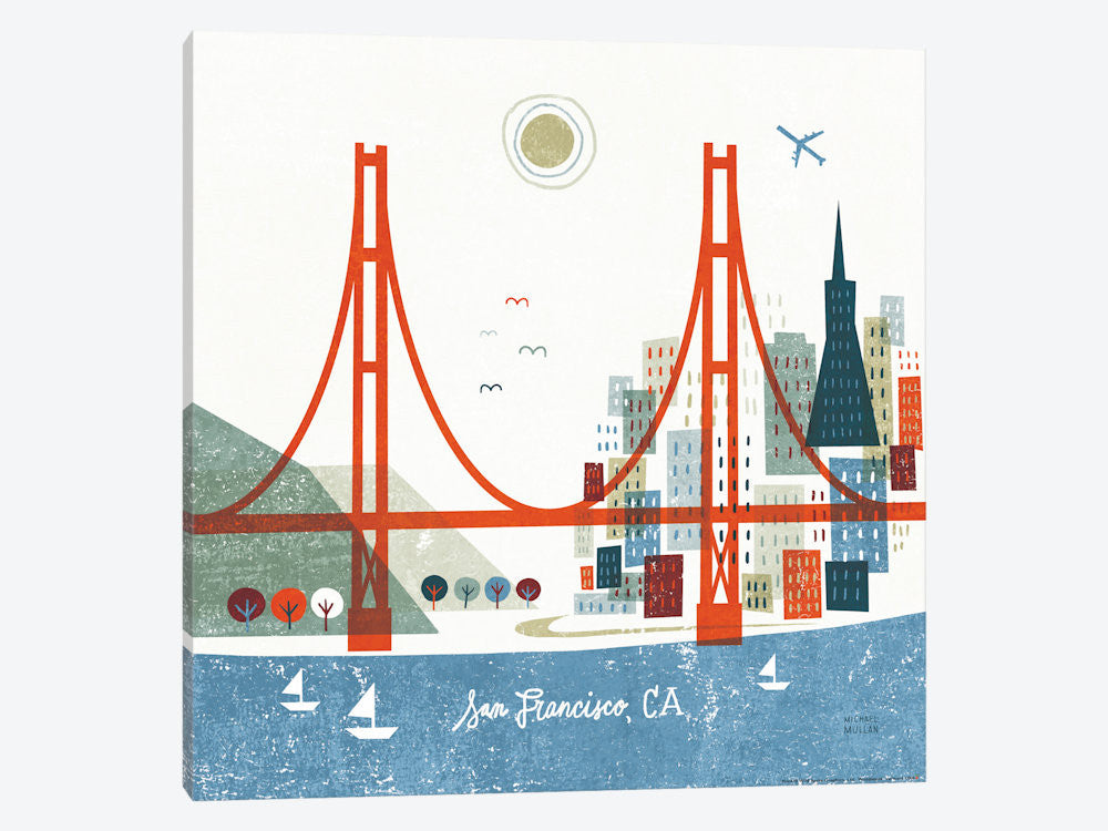 "Colorful San Francisco  by Michael Mullan Canvas Print 37"" L x 37"" H x 0.75"" D - eWallArt"