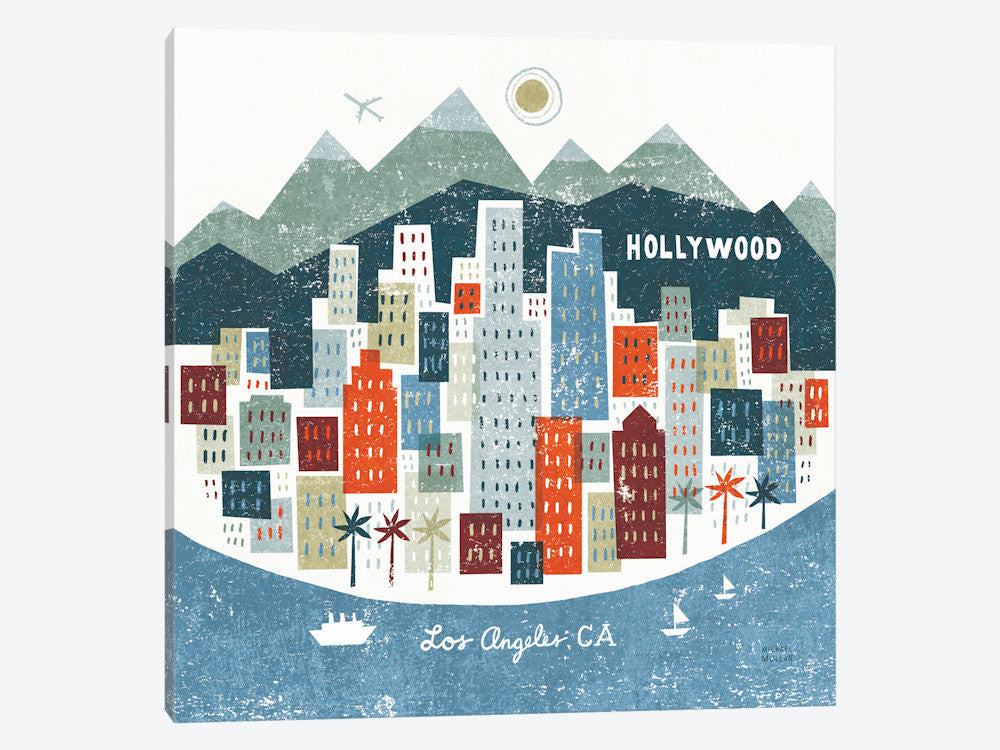"Colorful Los Angeles  by Michael Mullan Canvas Print 37"" L x 37"" H x 0.75"" D - eWallArt"