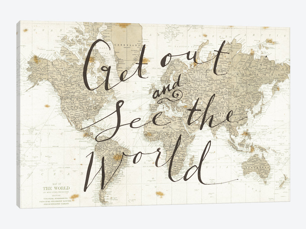 "Get Out and See the World by Sara Zieve Miller Canvas Print 60"" L x 40"" H x 1.5"" D - eWallArt"