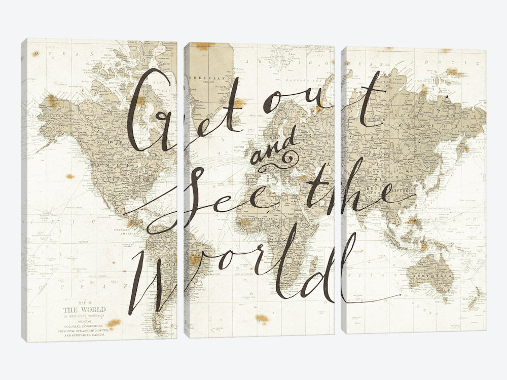 "Get Out and See the World by Sara Zieve Miller Canvas Print 60"" L x 40"" H x 0.75"" D - eWallArt"