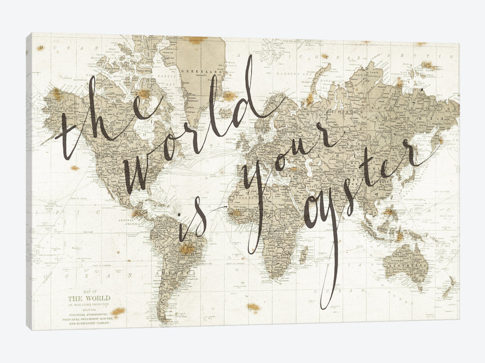 "The World Is Your Oyster by Sara Zieve Miller Canvas Print 60"" L x 40"" H x 1.5"" D - eWallArt"