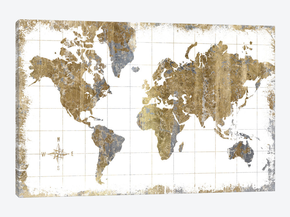 "Gilded Map by All That Glitters Canvas Print 40"" L x 26"" H x 0.75"" D - eWallArt"