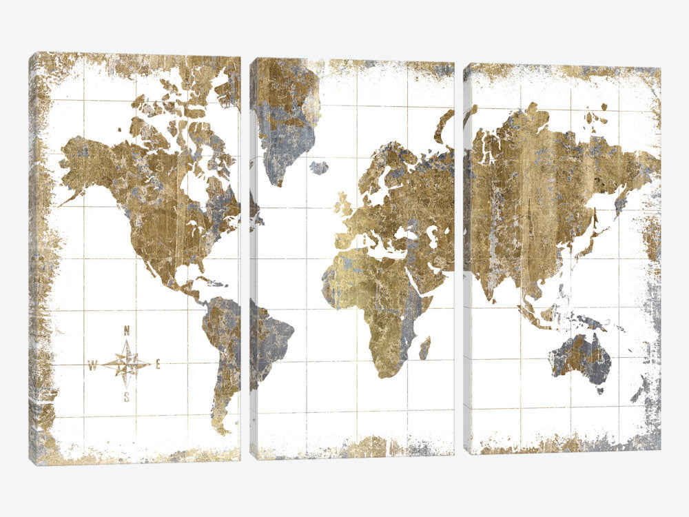 "Gilded Map by All That Glitters Canvas Print 60"" L x 40"" H x 0.75"" D - eWallArt"