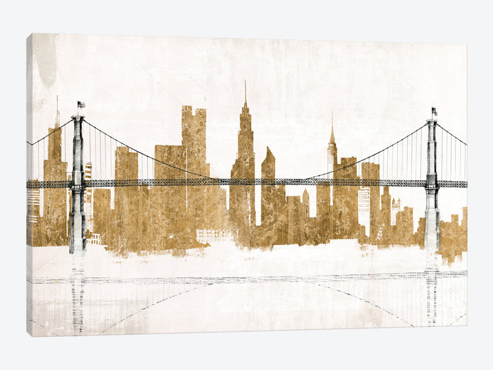 "Bridge and Skyline Gold by Avery Tillmon Canvas Print 26"" L x 18"" H x 0.75"" D - eWallArt"