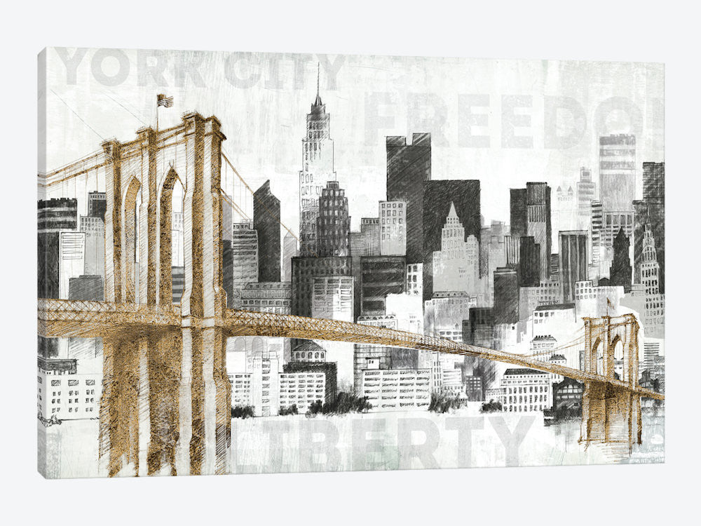"New York Skyline I by Avery Tillmon Canvas Print 40"" L x 26"" H x 0.75"" D - eWallArt"