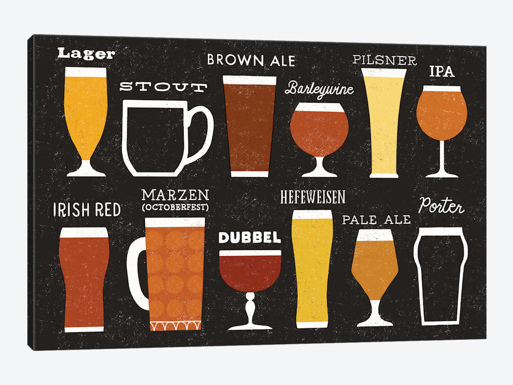 "Craft Beer List by Michael Mullan Canvas Print 40"" L x 26"" H x 0.75"" D - eWallArt"