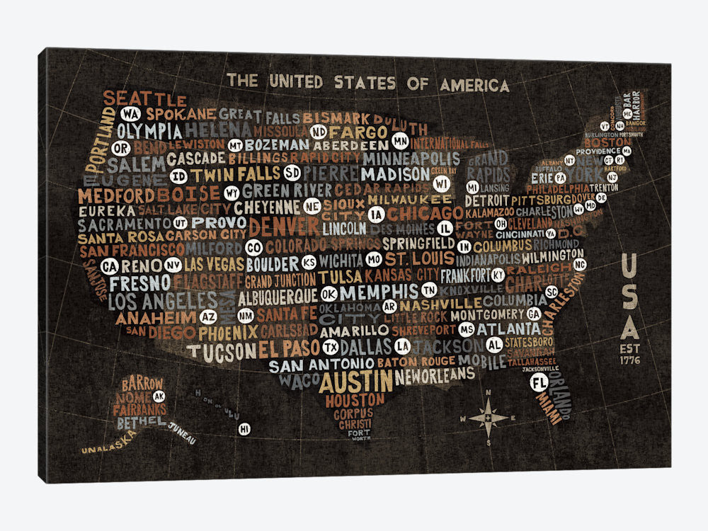 "US City Map Black with States by Michael Mullan Canvas Print 26"" L x 18"" H x 0.75"" D - eWallArt"