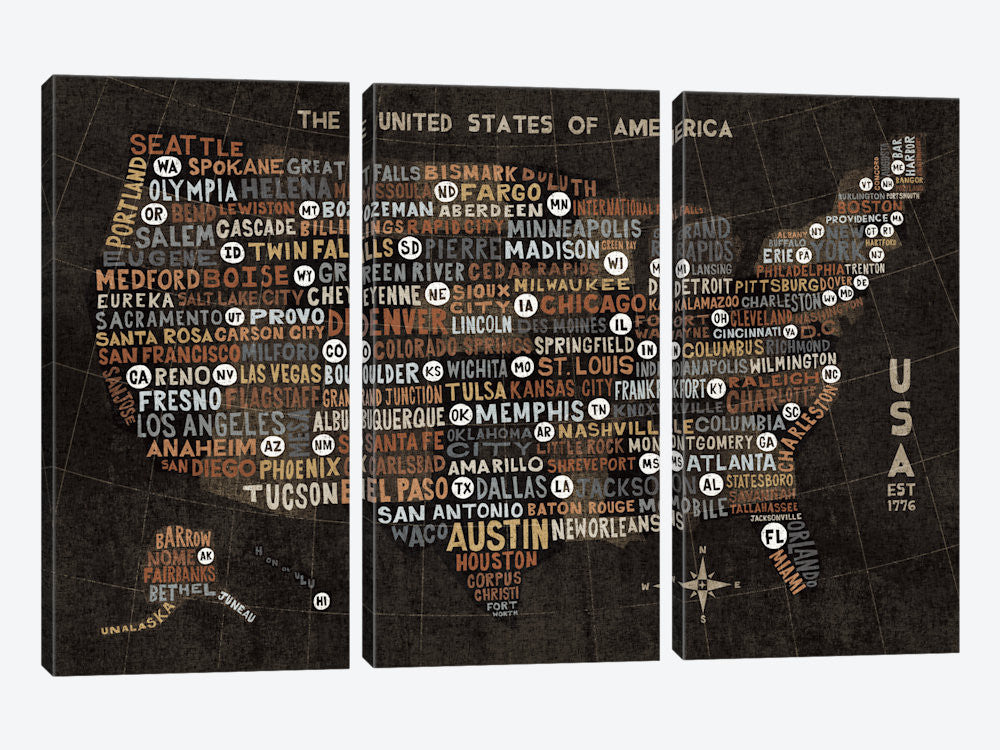 "US City Map Black with States by Michael Mullan Canvas Print 60"" L x 40"" H x 0.75"" D - eWallArt"