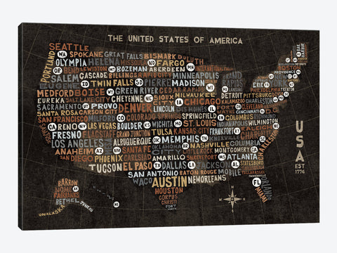 "US City Map Black with States by Michael Mullan Canvas Print 60"" L x 40"" H x 1.5"" D"