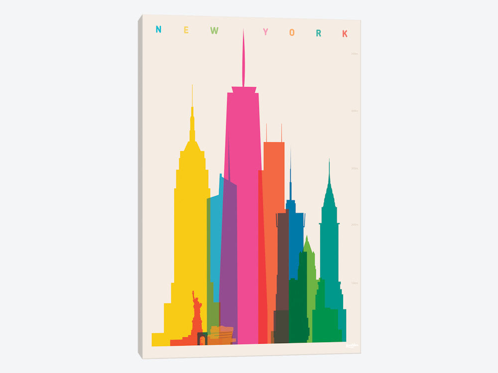 "New York City by Yoni Alter Canvas Print 26"" L x 40"" H x 0.75"" D - eWallArt"