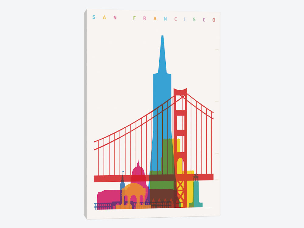 "San Francisco by Yoni Alter Canvas Print 26"" L x 40"" H x 0.75"" D - eWallArt"