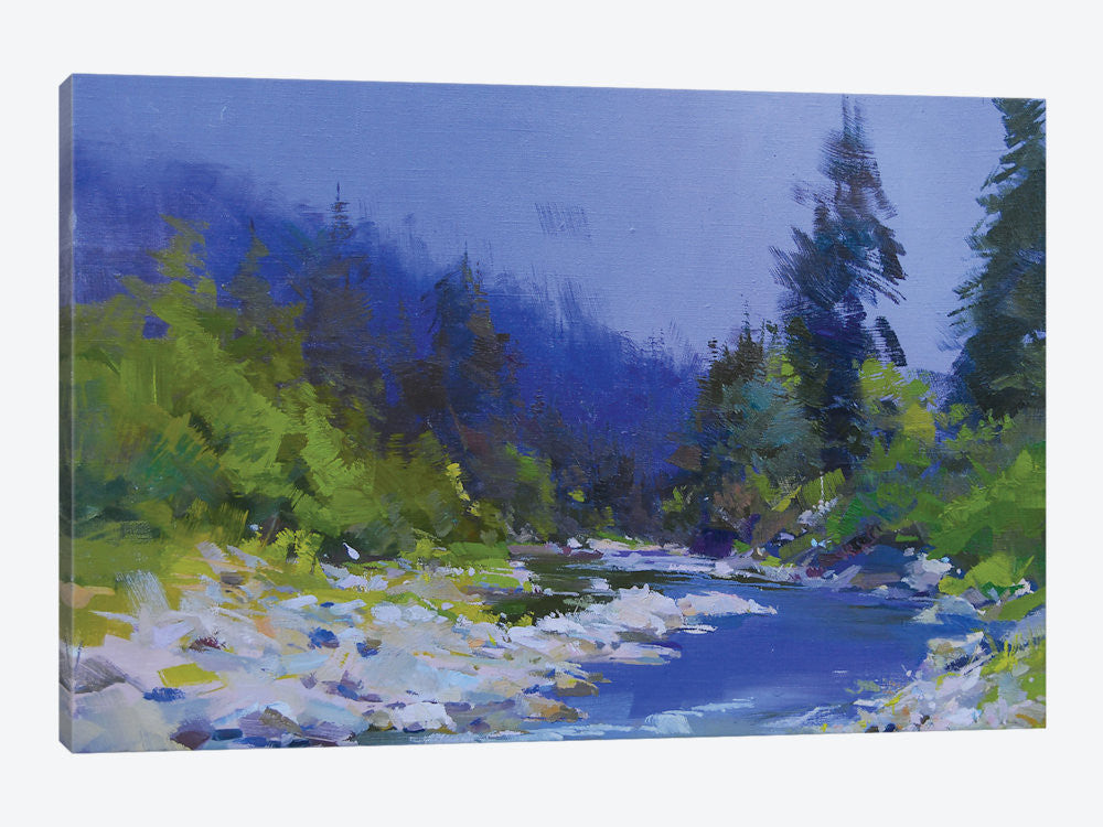 "The Mountanious River by Yuri Pysar Canvas Print 26"" L x 18"" H x 0.75"" D - eWallArt"
