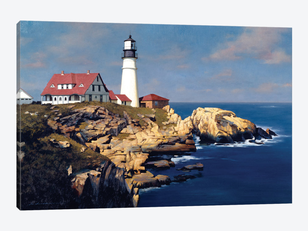 "Coastal Lighthouse by ZhenHuan Lu Canvas Print 26"" L x 18"" H x 0.75"" D - eWallArt"