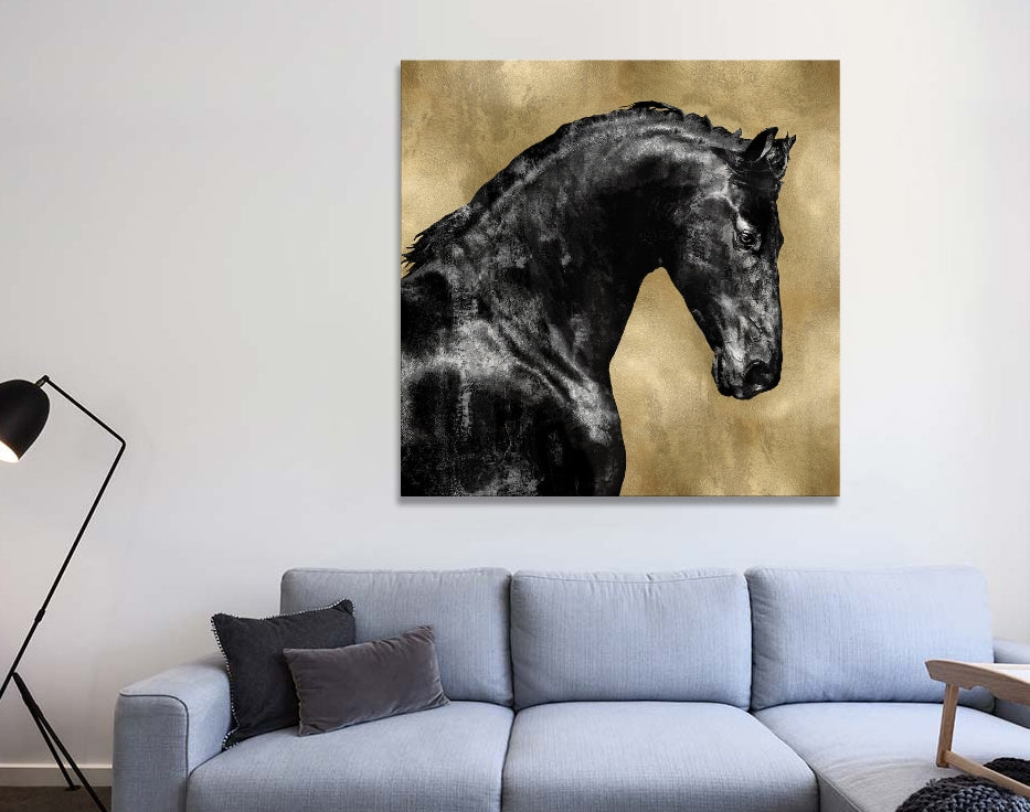 "Black Stallion On Gold - Canvas Print 37"" L x 37"" H x 0.75"" D"