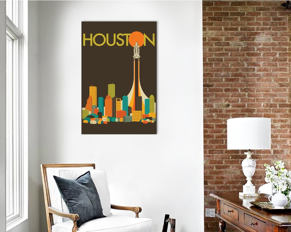 "Houston Skyline by Jazzberry Blue Canvas Print 26"" L x 40"" H x 0.75"" D"