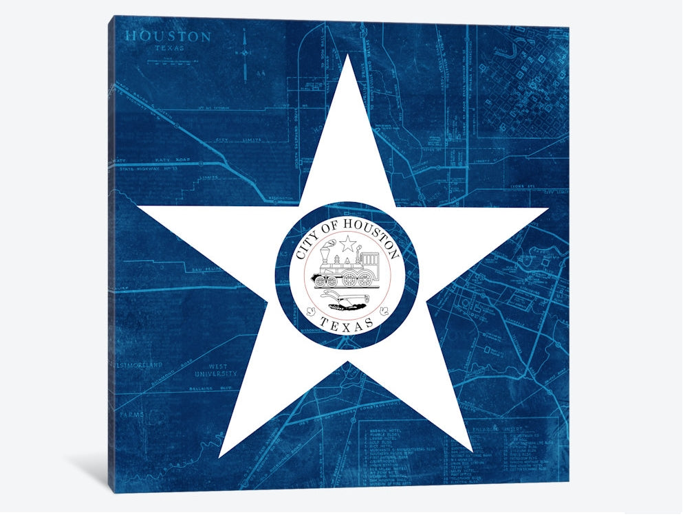 "Houston, Texas Roadway Blueprint Canvas Print 37"" L x 37"" H x 1.5"" D"