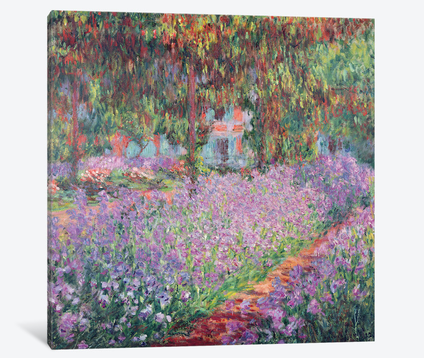 "The Artist's Garden at Giverny by Claude Monet Canvas Print 37"" L x 37"" H x 0.75"" D"