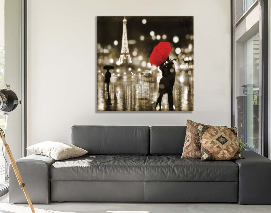 "A Paris Kiss by Kate Carrigan Canvas Print 37"" L x 37"" H x 0.75"" D"