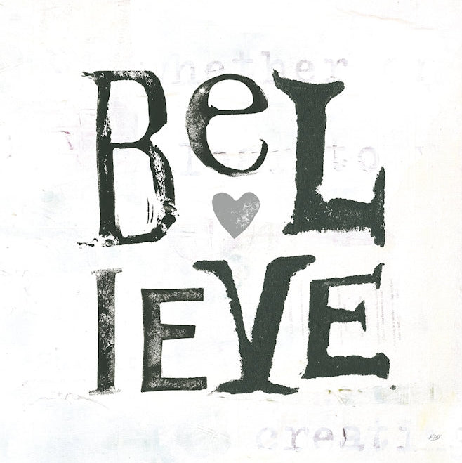 "Believe - Gray Hearts by Kellie Day Canvas Print 18"" L x 18"" H x 0.75"" D"