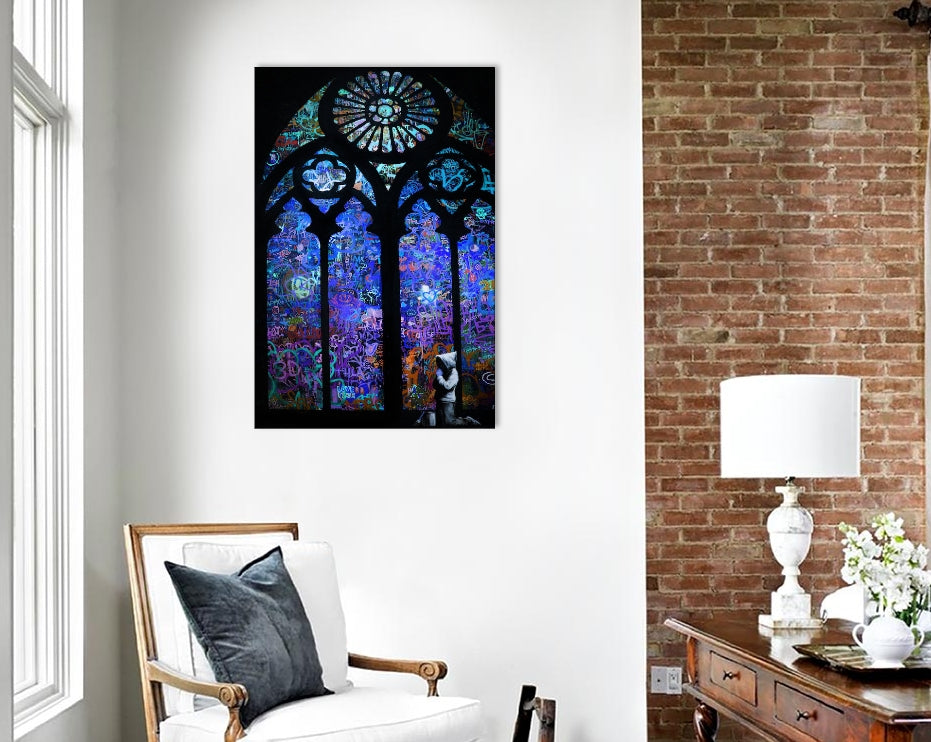 "Stained Glass Window II by Banksy Canvas Print 26"" L x 40"" H x 0.75"" D"