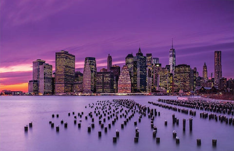 "New York Violet Sunset by J.G Damlow Canvas Print 40"" L x 26"" H x 0.75"" D"