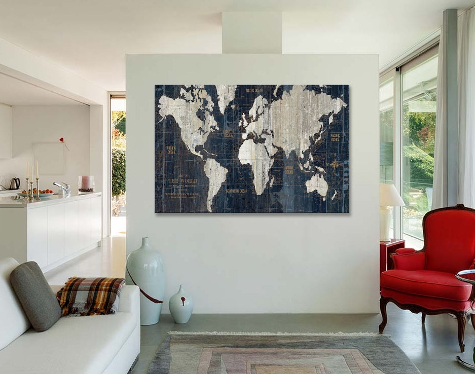 Wall Art Old World Map Blue By Wild Apple Portfolio Canvas Print - Old world map wall art in blue