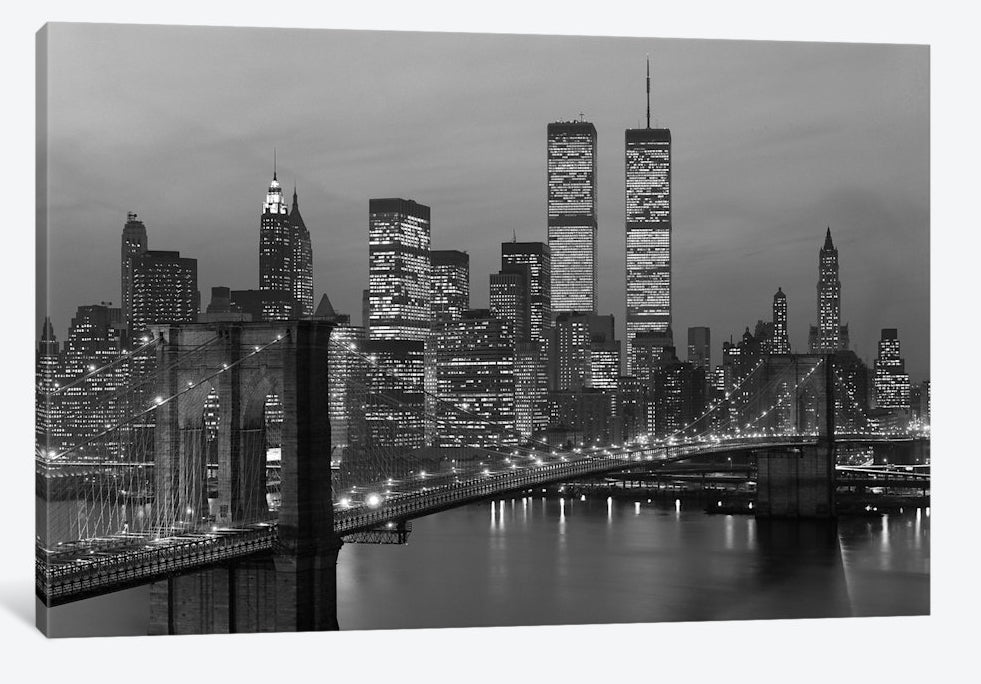 "1980s Manhattan Skyline World Trade Center - Canvas Print 26"" L x 18"" H x 0.75"" D"