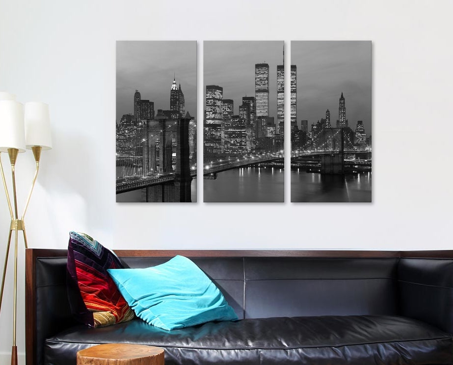 "1980s Manhattan Skyline World Trade Center - Canvas Print 60"" L x 40"" H x 0.75"" D"