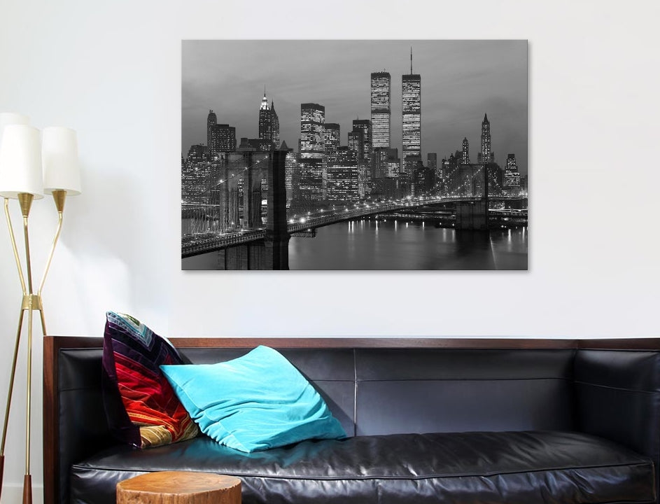 "1980s Manhattan Skyline World Trade Center - Canvas Print 60"" L x 40"" H x 1.5"" D"