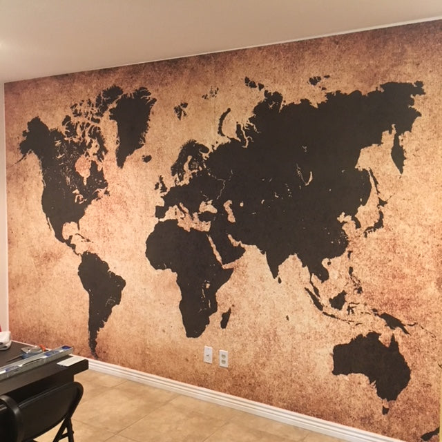 World Map Adhesive Mural